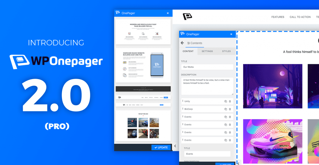Presenting WPOnepager 2.0 Pro - The Quickest Landing Page, Coming soon Page Builder for WordPress 6