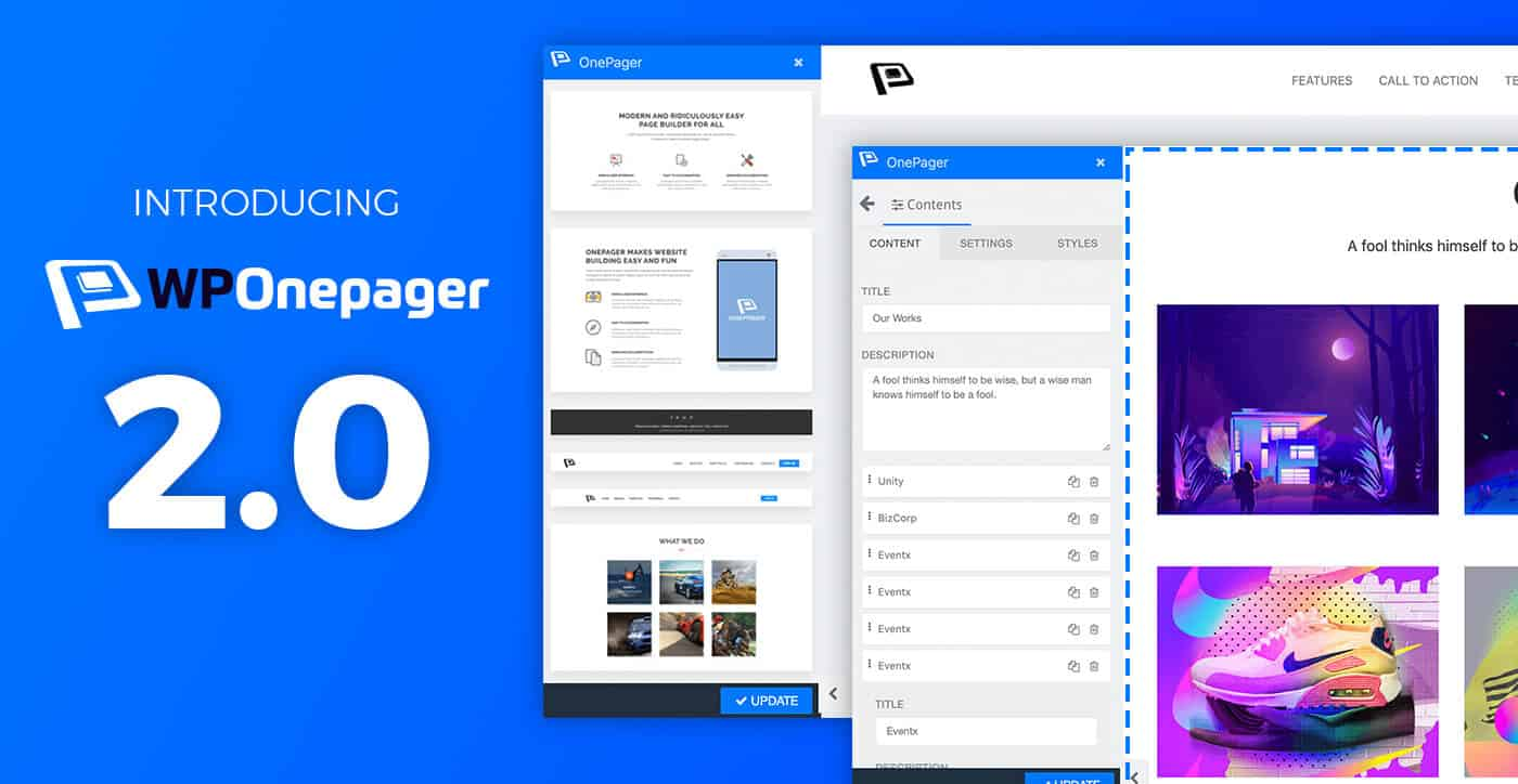 onepage page builder