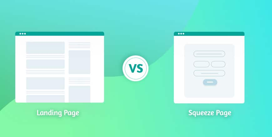landing page vs squeeze page