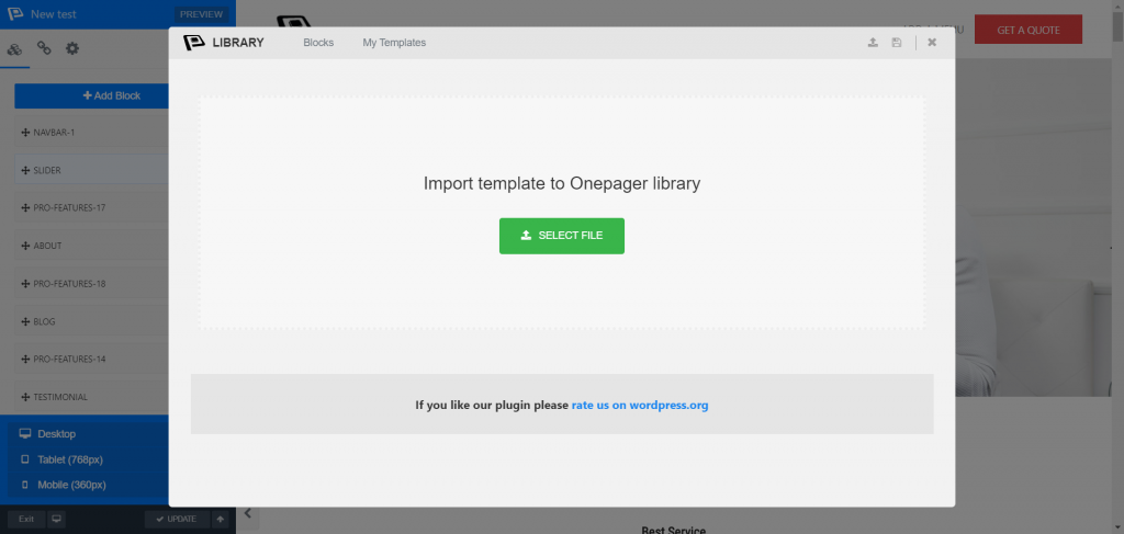 Introducing WPOnepager 2.4 with All-new Popup Modal, Page Export & Import Option, Template Menu and Much More 3