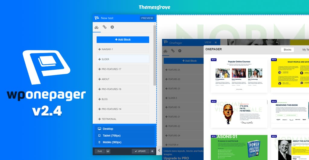 Introducing WPOnepager 2.4 with All-new Popup Modal, Page Export & Import Option, Template Menu and Much More 2